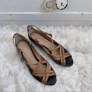 Anthro Black And Tan Leather Strap Wedges